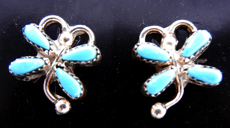 Zuni small turquoise and sterling silver dragonfly earrings