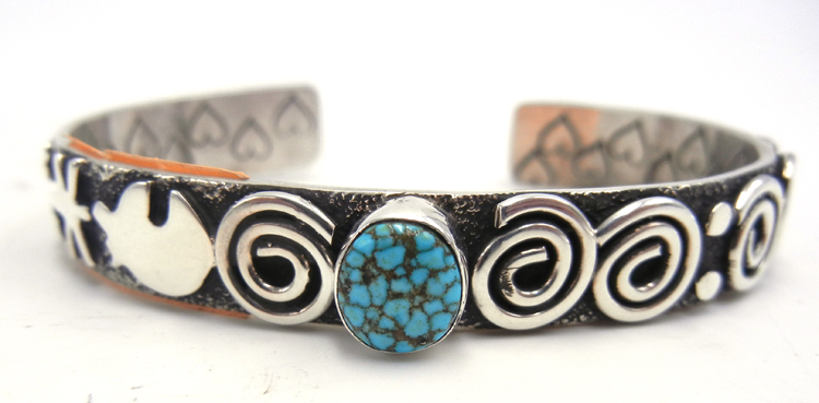 Navajo sterling silver and turquoise petroglyph style cuff bracelet by Alex Sanchez