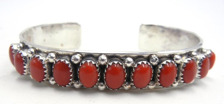 Navajo coral and sterling silver row cuff bracelet