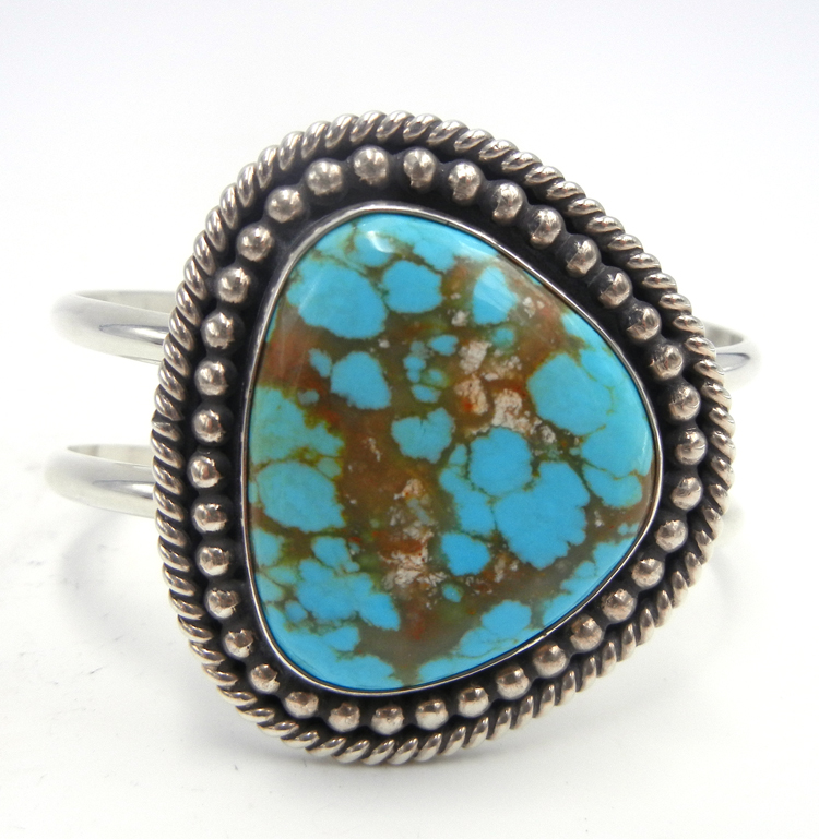 Navajo #8 turquoise and sterling silver cuff bracelet by Leonard and Raquel Hurley