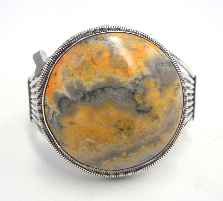 Navajo bumblebee jasper and sterling silver cuff bracelet by Rydell Billie