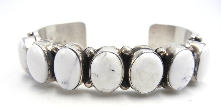 Navajo White Buffalo and sterling silver row cuff bracelet