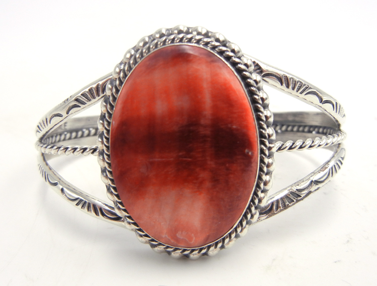 Navajo red spiny oyster shell and sterling silver cuff bracelet by Will Denetdale