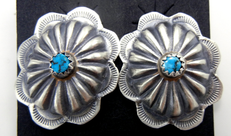 Navajo brushed sterling silver and turquoise small concho style earrings