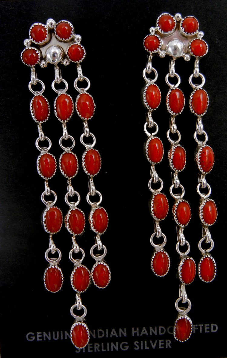 Navajo coral and sterling silver chandelier dangle earrings