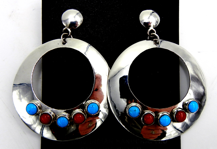 Navajo large sterling silver, turquoise and coral round cut out dangle earrings