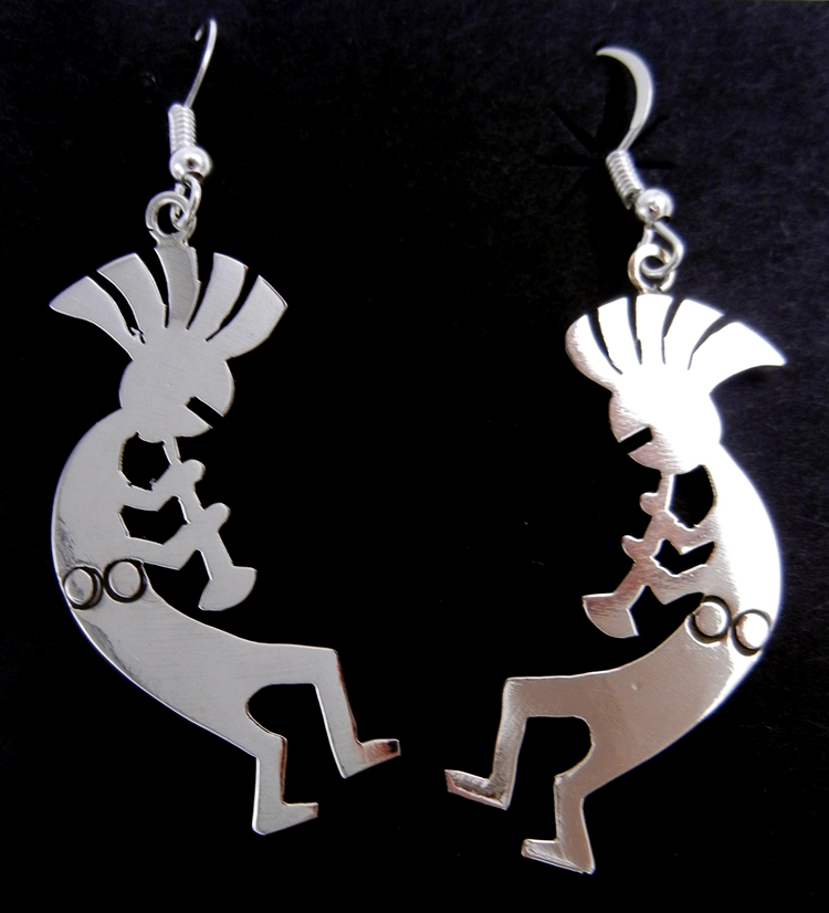 Navajo sterling silver kokopelli dangle earrings