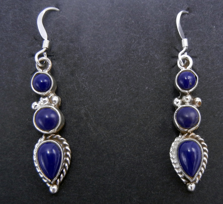 Navajo three stone lapis and sterling silver dangle earrings