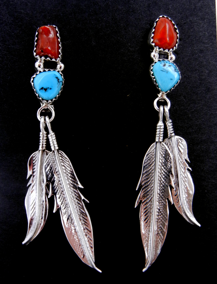 Navajo coral, turquoise, and double sterling silver feather dangle earrings