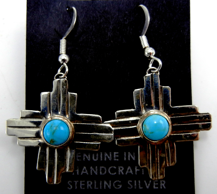 Navajo small turquiose and sterling silver zia symbol dangle earrings