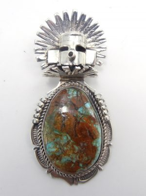 Navajo turquoise and sterling silver morning singer pendant by Bennie Ration