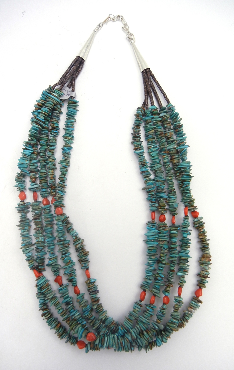 Santo Domingo turquoise, coral, and olive shell five strand heishi necklace by Irene Lovato