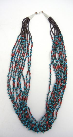 Santo Domingo ten strand turquoise, coral, and olive shell heishi necklace by Jeanette Calabaza