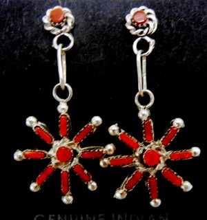 """Zuni coral needlepoint and sterling silver """"snowflake"""" dangle earrings"""