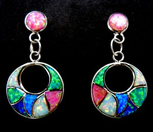 Zuni multi-colored lab opal and sterling silver inlay cut out dangle earrings