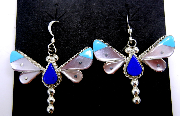 Zuni multi-stone inlay and sterling silver dragonfly dangle earrings by Leavus Ahiyite