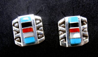 Zuni small multi-stone channel inlay and sterling silver post earrings