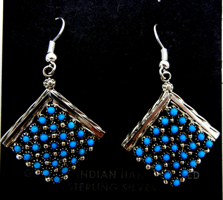 Zuni turquoise and sterling silver diamond shaped snake eye dangle earrings