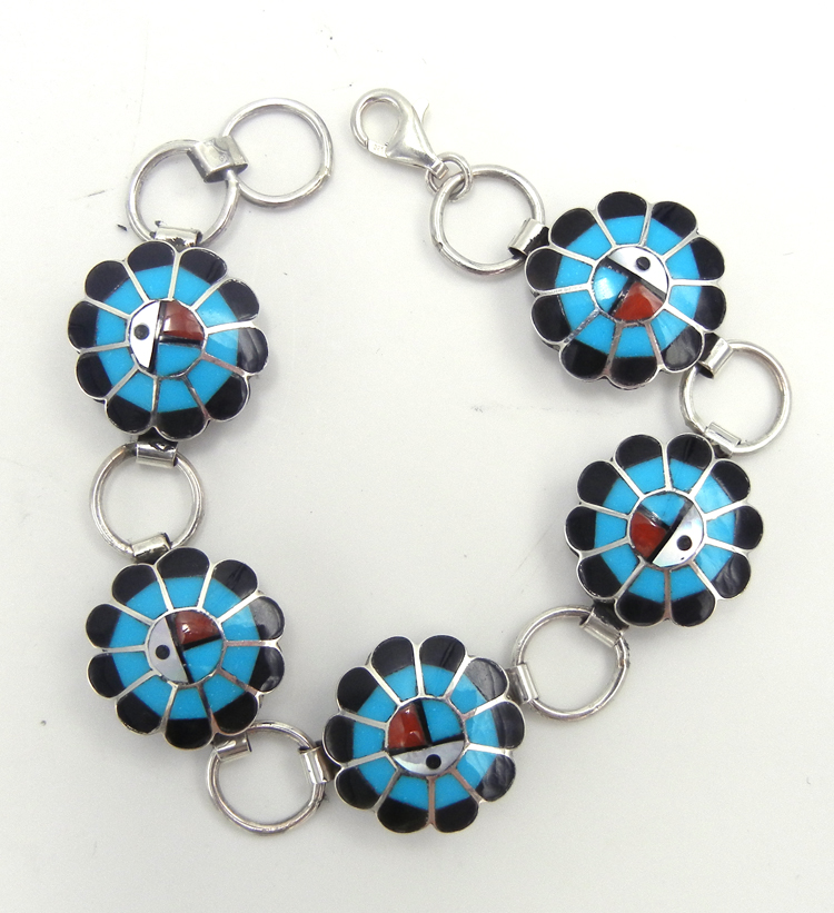 Zuni multi-stone inlay and sterling silver sunface link bracelet by Burdian Soseeah