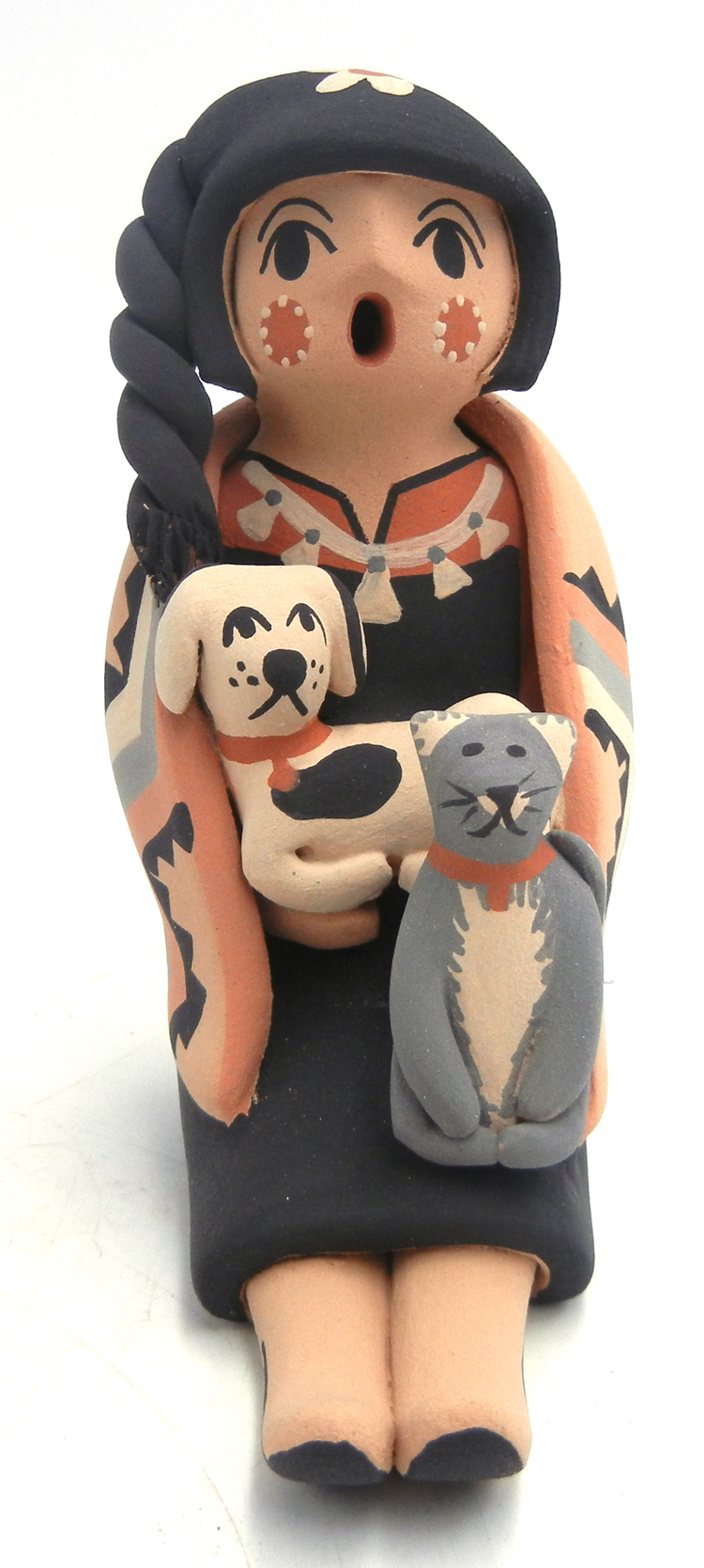 Jemez seated storyteller with dog and cat by Chrislyn Fragua