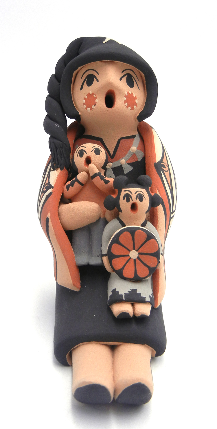 Jemez seated female storyteller with two children by Chrislyn Fragua