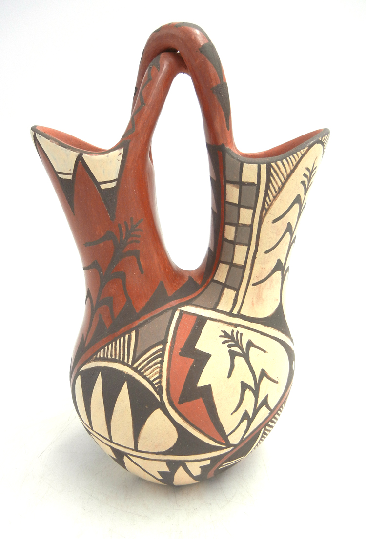 Jemez handmade and hand painted red polished wedding vase with twisted handle by Juanita Fragua