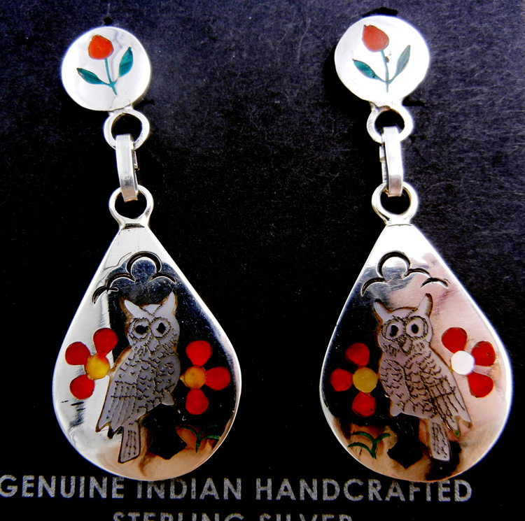 Zuni multi-stone inlay and sterling inlay owl dangle earrings by Sammy and Esther Guardian