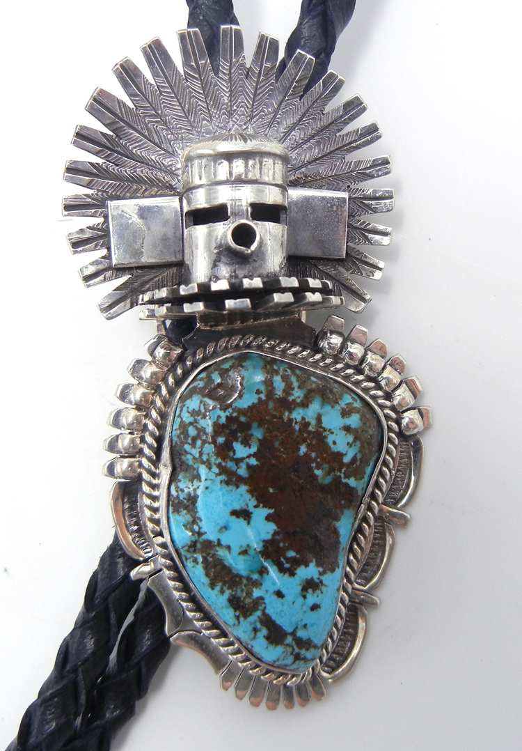 Navajo turquoise and sterling silver morning singer bolo tie by Bennie Ration