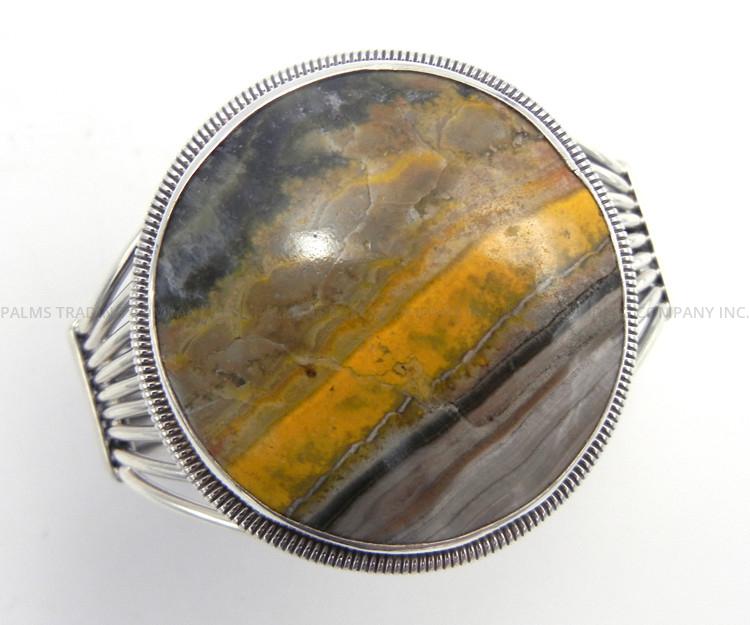 Navajo bumblebee jasper and sterling silver cuff bracelet by Rydell Billie