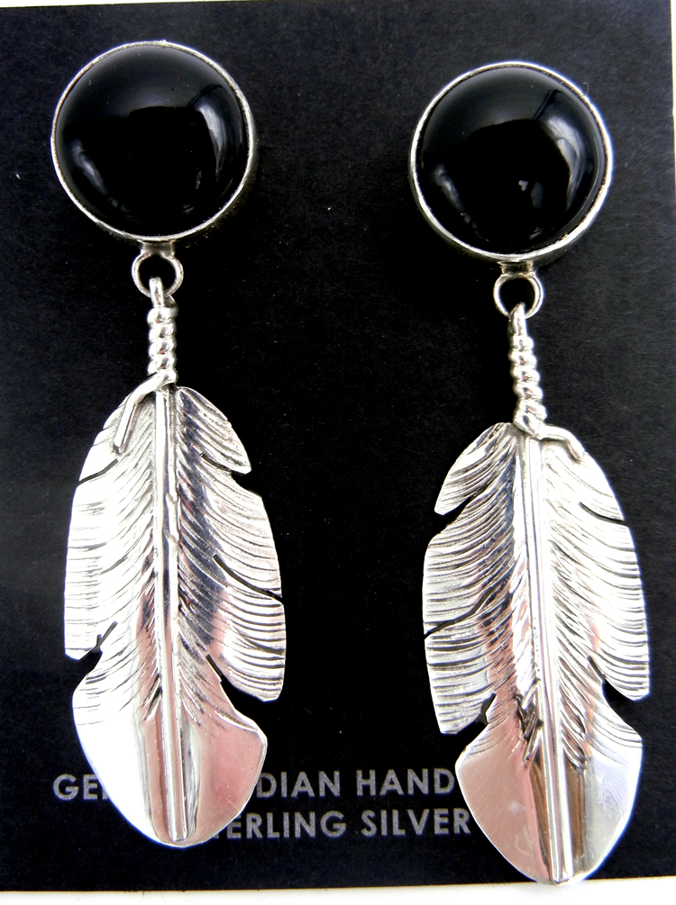 Navajo onyx and sterling silver feather dangle earrings by Ben Begay