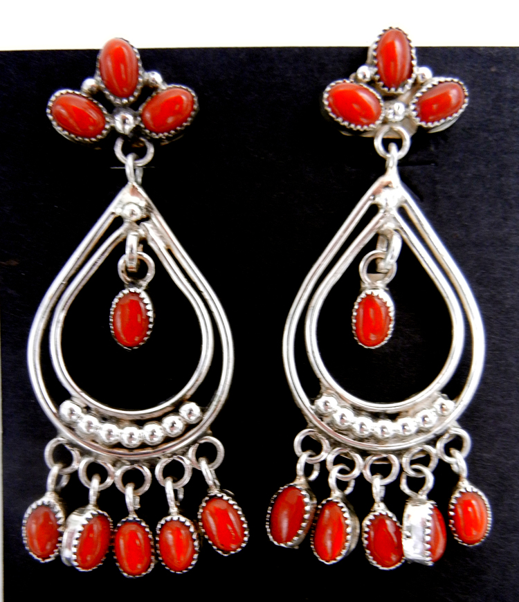 Zuni coral and sterling silver chandelier dangle earrings