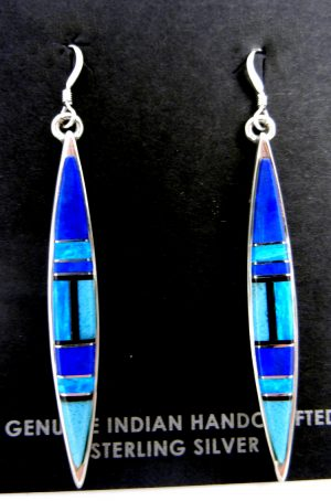 Navajo multi-stone inlay and sterling silver inlay dangle earrings