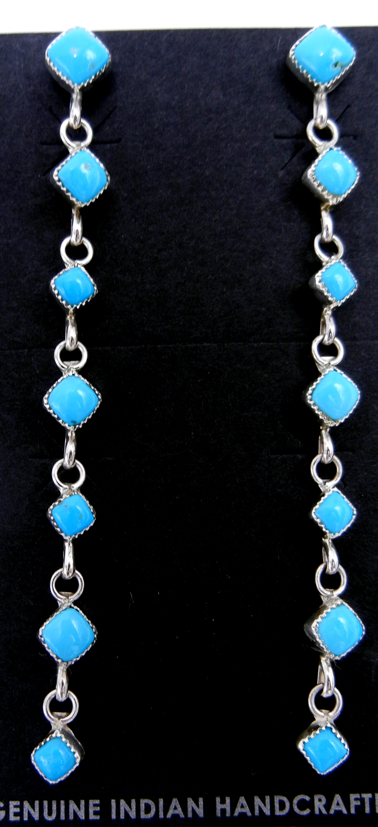 Navajo seven stone diamond shaped turquoise and sterling silver dangle earrings