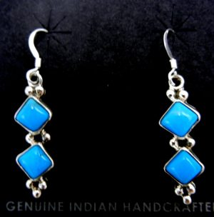Navajo turquoise and sterling silver diamond shaped dangle earrings