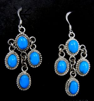 Navajo four stone turquoise and sterling silver chandelier dangle earrings