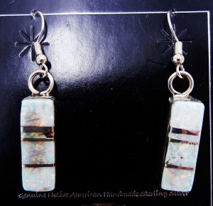 Navajo white lab opal and sterling silver inlay dangle earrings by Ray Nez
