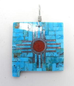Santo Domingo turquoise, coral, and sterling silver inlay New Mexico pendant with Zia symbol by Ambrosio Chavez