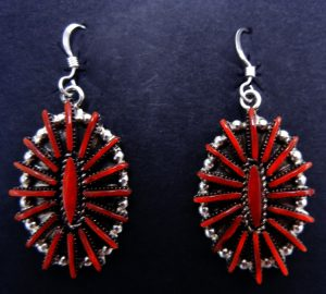 Zuni coral needlepoint and sterling silver cluster dangle earrings