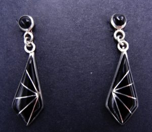 Zuni jet and sterling silver inlay diamond shaped dangle earrings