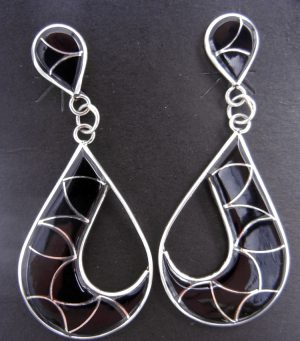Zuni large jet and sterling silver inlay cut out dangle earrings by Orlinda Natewa