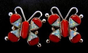 Zuni coral, white lab opal, and sterling silver inlay butterfly post earrings