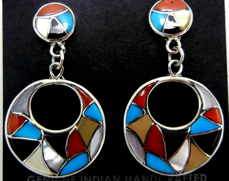 Zuni multi-stone inlay and sterling silver cut out dangle earrings