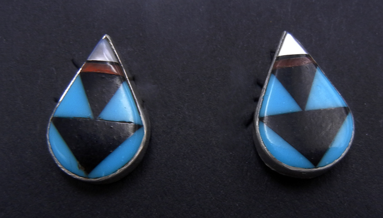 Zuni multi-stone inlay and sterling silver tear drop shaped post earrings