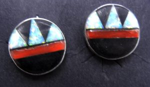 Zuni small multi-stone inlay and sterling silver circular post earrings