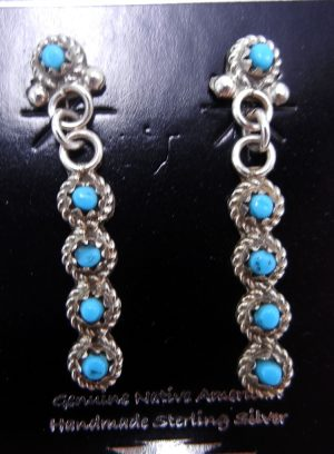 Zuni five stone turquoise petit point and sterling silver dangle earrings