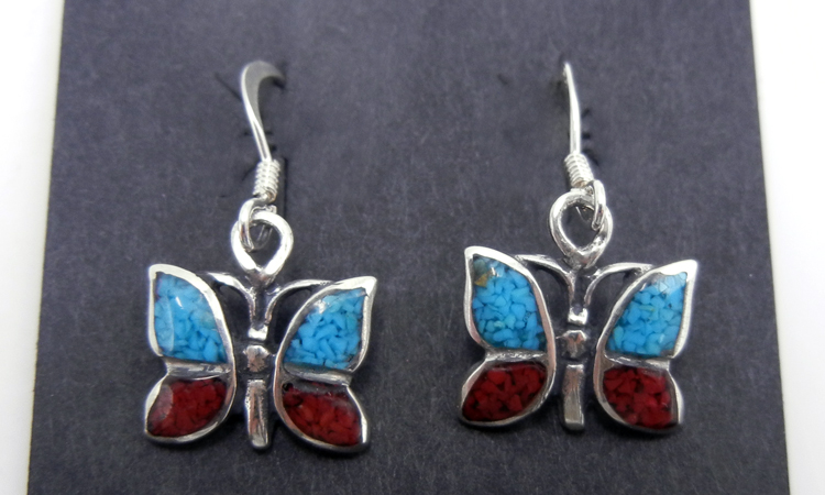 Zuni turquoise, coral, and sterling silver inlay dangle butterfly earrings