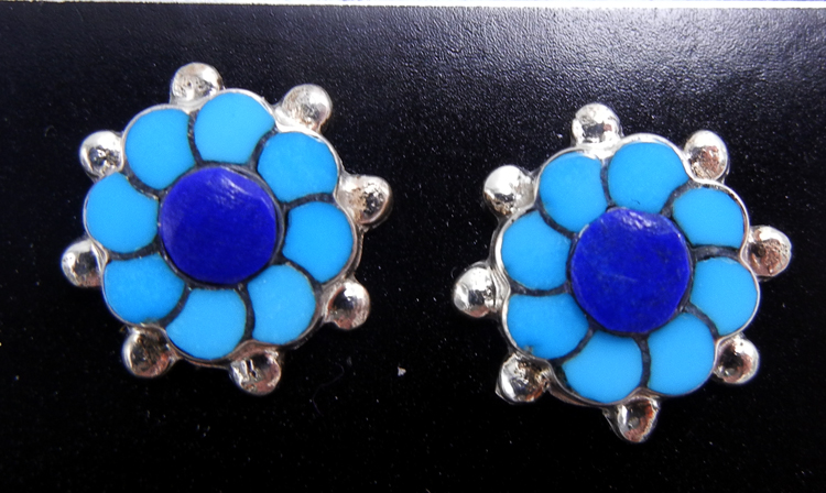 Zuni small turquoise, lapis, and sterling silver inlay flower earrings