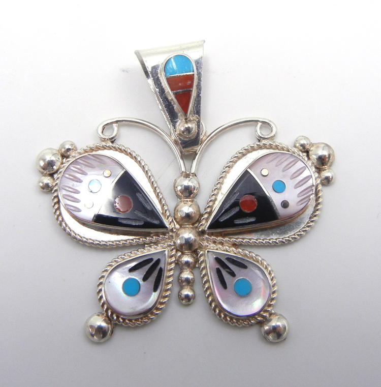 Zuni Leavus Ahiyite multi-stone inlay and sterling silver butterfly pendant
