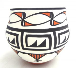 Acoma handmde and hand painted polychrome water pattern jar by David Antonio
