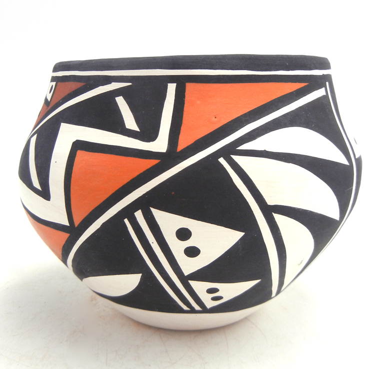 Acoma small handmade and hand painted polychrome traditional jar by Loretta Joe